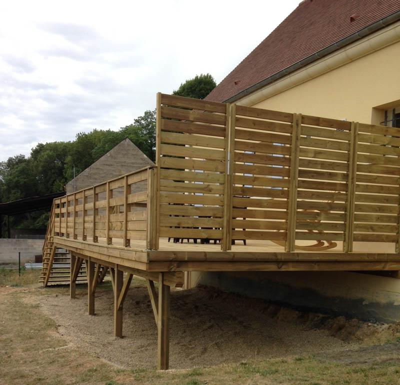 Fabricant alsacien de terrasse bois, au sol et sur poteaux, gardecorps, ramb